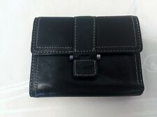 Women's Fossil Black Leather Trifold Snap Close Wallet Credit Card Holder
