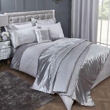 Diamond Velvet Super King Duvet Cover Set Diamante Quilt Bedding Set Silver Grey