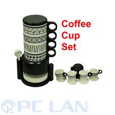 Black Design Coffee Tea Plastic 4 Cups Set + 4 Tea Spoons + 4 Cup Plates