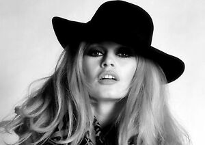 Brigitte Bardot Model Hat Pose Black and White Beautiful BB Print Photo Poster