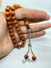 More details for pressed amber tesbih efe size with wheel cut beads & alpaca silver tassles