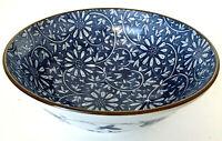 "Vintage Japanese Serving Bowl Blue & White Porcelain Brown Rim 3""H 8"" diam EUC"