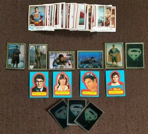VTG 1978 Superman The Movie Complete Set of 77 Trading Cards Topps & Stickers