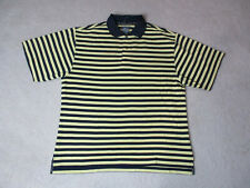 Footjoy Golf Polo Shirt Adult Large Yellow Black Striped Lightweight Golfer Mens