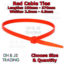 Red Cable Ties Various Sizes & Quantities Plastic Nylon Tie Wraps Wrap Zip Ties