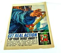 "Get Real Action 7-UP Your THirst Away Sail Boat Classic Vtg Ad 13.5""x10"" AK"