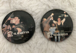 2 WWF Wrestling Superstar vintage 1980'S buttons Sargeant Slaughter Patriotic