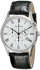 Claude Bernard 10218 3 BR Mens Watch Swiss Made White Dial Classic Chronograph
