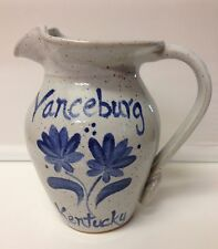 "SUGAR LOAF POTTERY 1996 VANCEBURG KENTUCKY 5"" BLUE & GRAY PITCHER SIGNED"