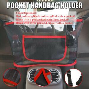 Car Handbag Holder Net Leather Seat Back Mesh Pocket Seat Side Bag Storage  Q