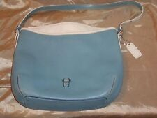 COACH BLUE WITH WHITE TRIMMED LEATHER REMOVABLE ADJUSTABLE STRAP PURSE HANDBAG
