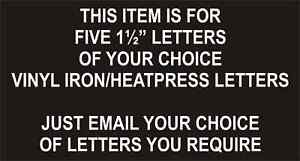 """Iron On / Heatpress FOOTBALL Transfers Letters / Pack of 5 x 1½"""" / WHITE / NEW"""