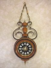 Vintage Colonial Wall Clock Westminster Chimes Wood Brass and Wrought Iron Case