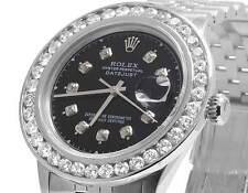 Mens Rolex Datejust Quickset 16014 Oyster 36MM Black Dial Diamond Watch 5.5 Ct