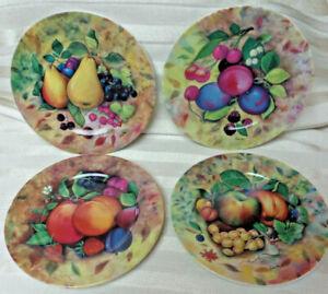 Set of 4 Email de Limoges Marino I. Godinger Fruit Plates Signed Fiorilli