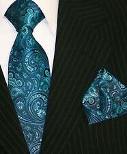 Krawatte Krawatten Set mit Einstecktuch Schlips Binder de Luxe 546 Petrol