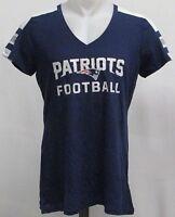 New England Patriots NFL Women Navy Blue V-Neck Short Sleeve Shirt