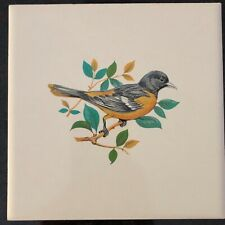 Hand painted Baltimore Oriole on ceramic tile