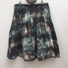 Veronika Maine sz 8 Brown & Green Pleated Skirt AS NEW