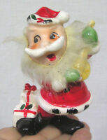Vintage Christmas Figurine Santa Claus w Furry Beard Gifts Mandolin Japan 1950s