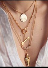 Gold Toned Multi Layer Pendant Choker Necklace Angel Wings Spear Circle Arrow