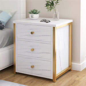 Marble Stone Look Bedside Table 3 Drawers Night Stand Cabinet Bedroom White UK