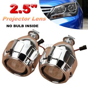 "2x Mini HID 2.5"" Bi-Xenon Projector Lens Chrome Shroud Headlight Car  .' -."