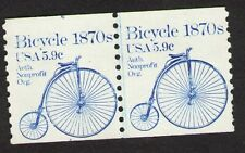 US. 1901. 5.9c. Bicycle 1870s, Coil Line Pair. #4 at Up. Shiftier. MNH. 1982