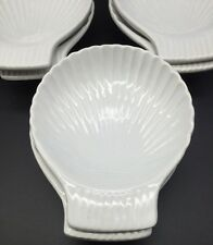 3855) Set of 6 Gourmet Cookware White Oven Proof Scallop Seashell Serving Dishes