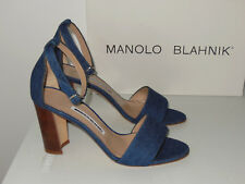MANOLO BLAHNIK LAURATOPRI DENIM OPEN TOE ANKLE STRAP SANDALS SIZE 37.5