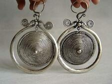 Collectible Chinese minority women Jewelry Miao silver Swing earring