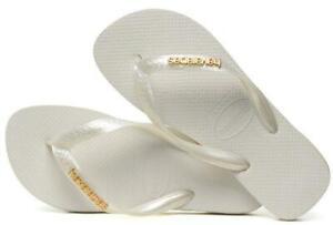 BNWT Havaianas Logo Metallic Ladies Flip Flops, White, UK 4 - 5 / EU 39