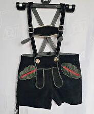 VINTAGE AUTHENTIC OKTOBERFEST DIRNDL TYROL BLACK LEATHER BOYS SHORTS PANTS:104