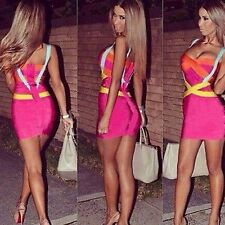 Mini Abito aderente Multicolore Nudo scollo Cocktail Ballo Party Bodycon Dress S