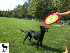 "Soft Bite Dog Toy Flyer Floppy Disc Gentle Fetch Frisbee 12"" Large"