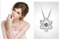 Hexagon Star S925 Sterling Silver Zircon Crystal Pendant Necklace Lover Jewelry