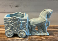 Vintage Mid Century Blue Ceramic Horse & Carriage Planter with Angels and Harp