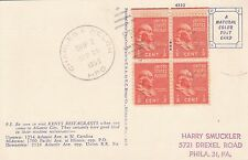 M 315 Charles & Welch HPO - block of 4 1/2 c Prexie 1955 postcard