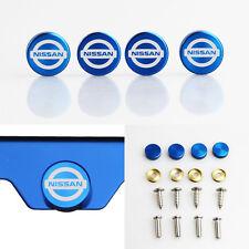 Laser Etched 4 Blue Aluminum Fit Nissan License Plate Frame Fastener Screw Cap