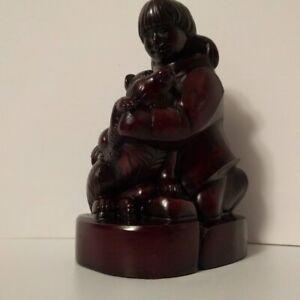 Vintage Bakelite Effect Resin Boma Eskimo Girl & Husky Figure Sculpture Canada