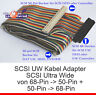 INTERNES SCSI UW KABEL ULTRAWIDE ADAPTER VON 68-POL 50-POL 68-PIN 50-PIN CABLE