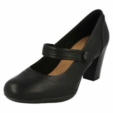 Clarks Patternless 100% Leather Mary Janes Heels for Women