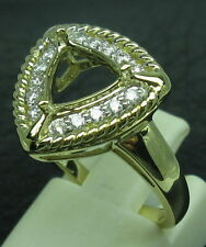 Genuine 14k Solid Yellow Gold 8x8MM Trillion Cut Natural Diamond Semi Mount Ring