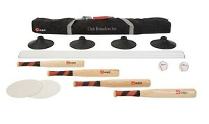 New Club Rounders Set Includes Quality Wooden Bat Leather Rounders Balls & Bases