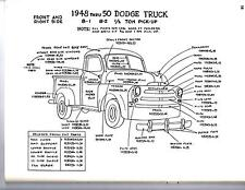 1951 1952 1953 DODGE TRUCK 1/2 3/4 1 TON EXTERIOR BODY PARTS DIAGRAM SHEETS WM