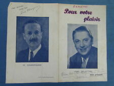 autographes DE L EQUIPE DE L EMISSION radio PELE MELE RTL RMC 30 AVRIL 1950