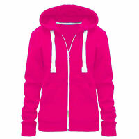 Ladies Womens Sweatshirt Plain Hoodie Zip Jacket Hooded Jumper Hoody Coat Top