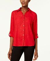 NY COLLECTION WOMEN'S UTILITY SHIRT DISCO D RED PM