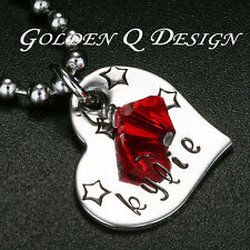 Personalised Stainless Steel Name Birthstone Heart Necklace Birthday Gift D102