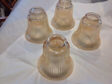 Set of 4  Replacement Amber Glass Dome Shades for Lighting Fixture